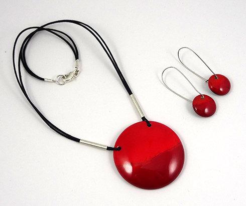 Parure Collier rouge et boucles bijou en ceramique pour femme