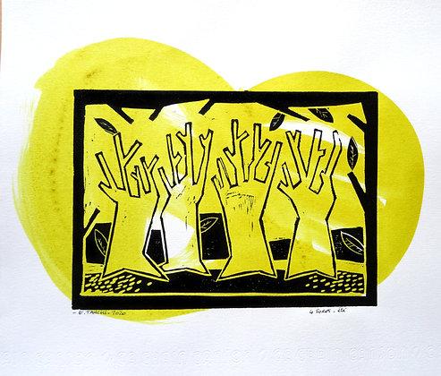 linogravure arbres foret impression artisanale dessin encre noir et jaune