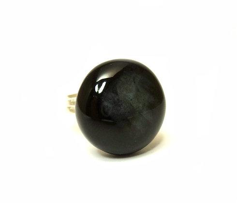 bague ronde noire style agate