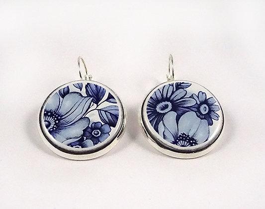 grosses boucles rondes motif fleur bleu blanc support argent