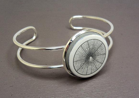 bracelet jonc design motif toile d'araignée fine gris noir blanc