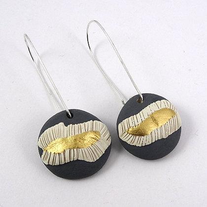 Boucles d'oreilles rondes gris or en céramique bijou original pour femme