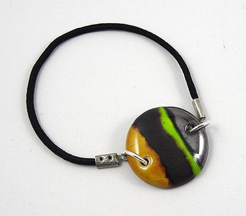 bracelet coloré chic argenté jaune vert noir avec élastique noir