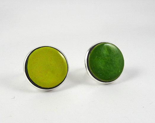 grosses bagues rondes vert foncé anis céramique sertie sur argent