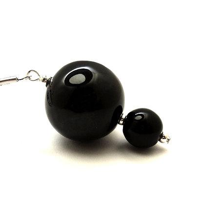 pendentif 2 billes noires en céramique pour femme