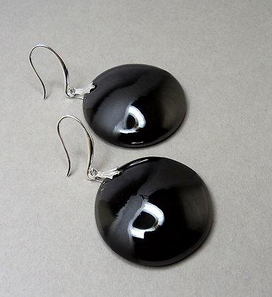 grandes boucles rondes argent noir sophistiquées chic céramique