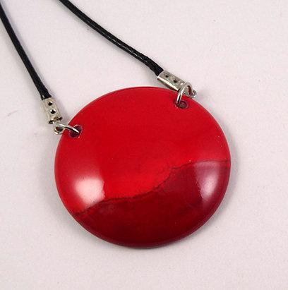 collier pendentif médaillon rond rouge bijou en céramique design femme