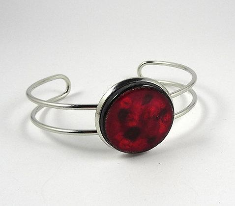 grand bracelet jonc rond céramique rouge bordeaux pois style cassis