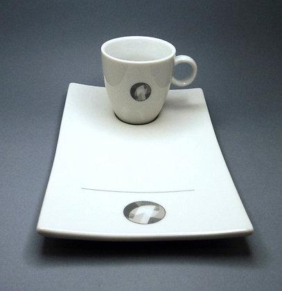 Ensemble tasse assiette graphique noir et blanc en céramique