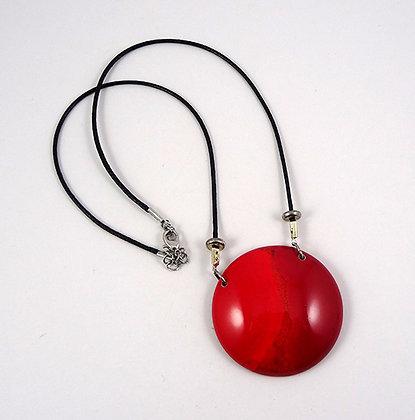 collier gros médaillon rouge rond cordon noir argent bijou céramique