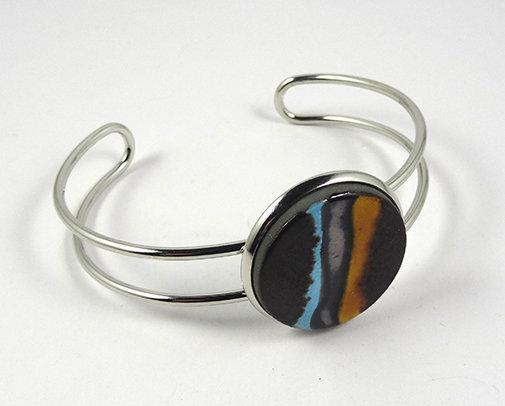 grand bracelet chic bleu jaune noir argenté rond métal et céramique