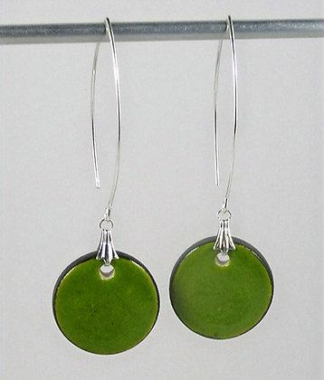 Grandes boucles d'oreilles rondes vert bleu en céramique