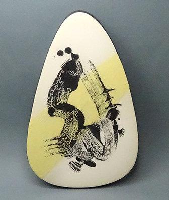 petit carreau céramique illustré jaune et noir sous-plat ovale