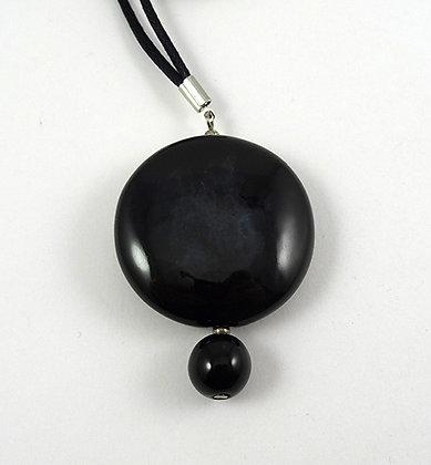 pendentif rond noir galet chic perles céramique design contemporain