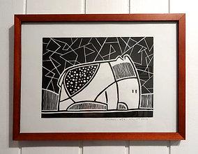 Linogravure illustration originale animal imaginaire noir et blanc encadrée