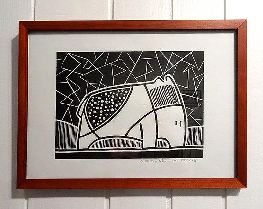 linogravure noir blanc dessin animal géométrique noir et blanc