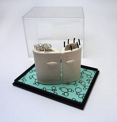 boîte transparente avec sculptures modulables en céramique blanche