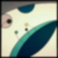 Pili-Pok | peinture sur toile, tête BD, gros yeux, grande bouche bleue