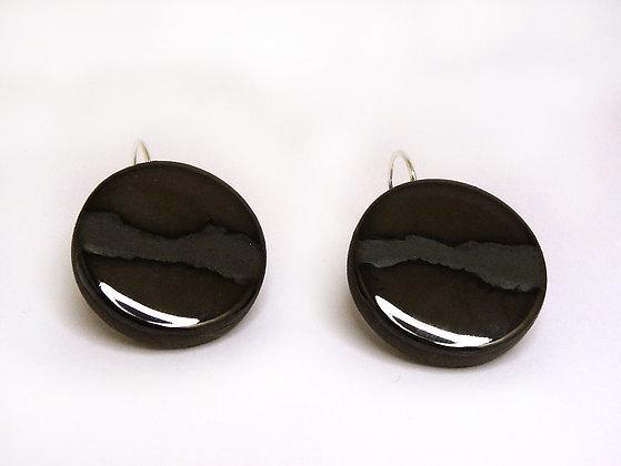 boucles d'oreilles rondes chic couleur métal noir brillant et mat