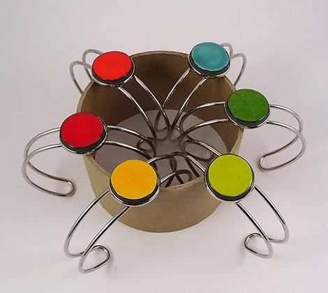 Bracelets joncs multicolores sur métal argenté réglables céramique