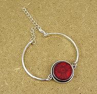 Bracelet rond rouge pois framboise jonc argenté en céramique