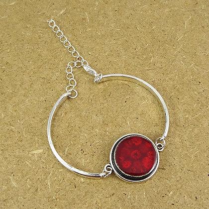 bracelet chic rouge pois framboise jonc métal argent réglable