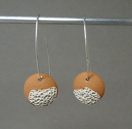 boucles d'oreilles orange pastel blanc rondes longues pour femme