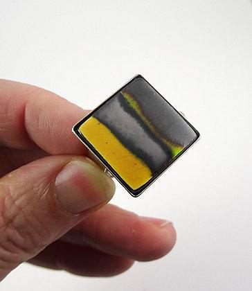bague carré design céramique rayures jaune argent noir vert gris anneau réglable