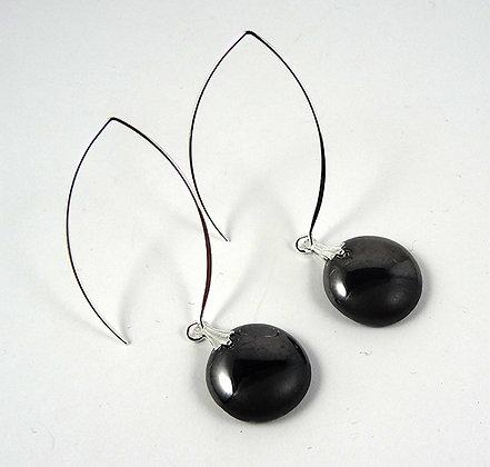 longues boucles d'oreilles rondes chic couleur noir brillant gris argent mat
