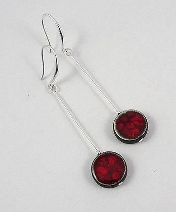 longues boucles d'oreilles rondes rouge pois framboise en céramique