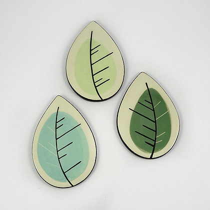 Dessous de plat en céramique design petite feuille vert bleu
