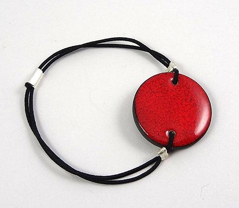 bracelet rond rouge moucheté en céramique bracelet plat réglable