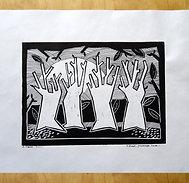 Linogravure arbres forêt impression artisanale dessin original