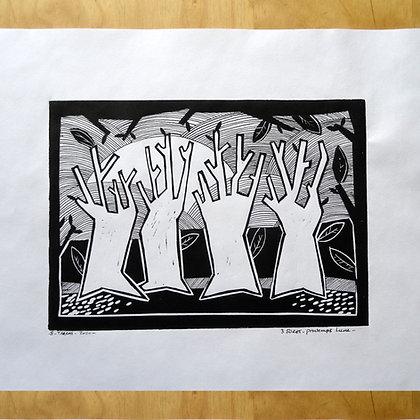 linogravure arbres foret impression artisanale dessin encre noir et blanc