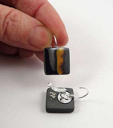 boucles d'oreilles carré noir argent jaune dormeuse bijou céramique créateur