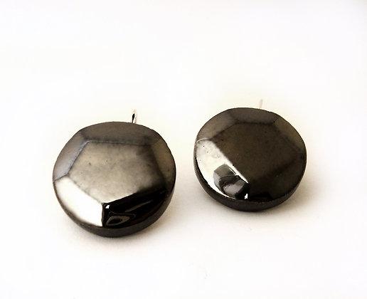 boucles d'oreilles chic sophistiquées noir brillant à facettes
