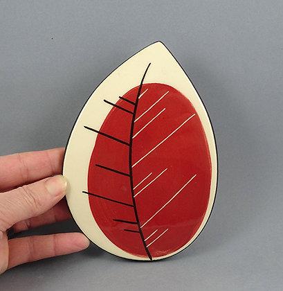 carreau céramique décoratif peint à la main sous-plat original en forme de feuille rouge