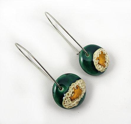 boucles d'oreilles emeraude blanc or ronds ceramique crochets argent