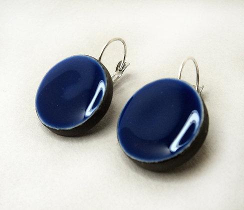 Grandes boucles d'oreilles rondes bleu majorelle en céramique