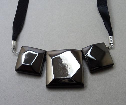 collier diamant noir très chic en céramique brillante pour femme