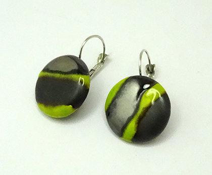 boucles d'oreilles rondes chic noir vert pour femme