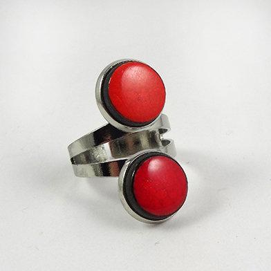 bague rouge double anneau argent style contemporain en céramique