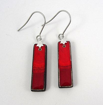 boucles d'oreilles rouge rectangle design bijou céramique artisanal