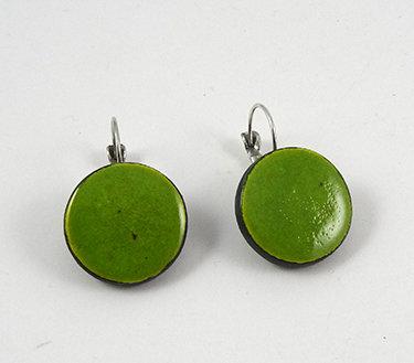boucles d'oreilles vert rond dormeuses perle céramique artisanale