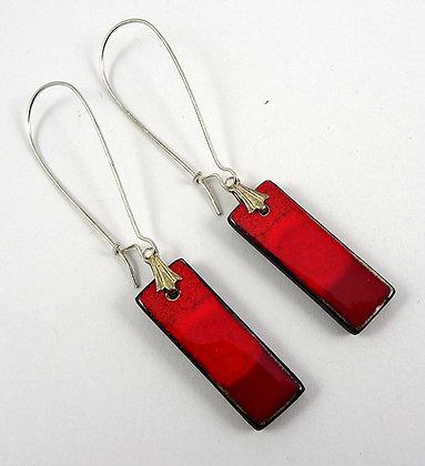 boucles d'oreilles rectangles rouge bijou original en céramique