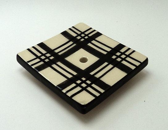 porte-savon en céramique à carreaux noir et blanc