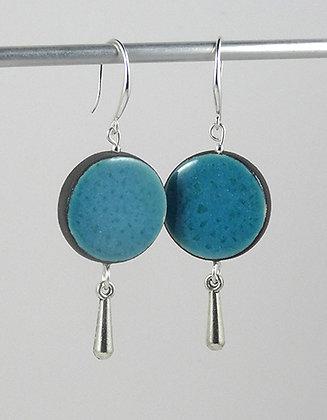grandes boucles d'oreilles bleu clair rondes avec pampille argent