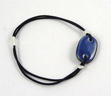 petit bracelet ovale bleu marine en céramique pour femme ou homme