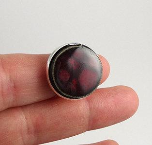 bague ronde bordeaux prune rouge anneau argent bijou design céramique
