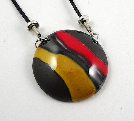 Collier en céramique rond rouge jaune noir argenté pour femme